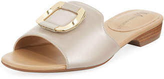 Neiman Marcus Bagot Leather Slide Sandals, Sand Pearl