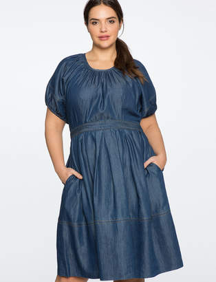 Puff Sleeve Chambray Fit and Flare Dress