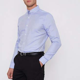 River Island Mens Blue stripe collar bar slim fit shirt