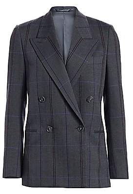 Acne Studios Women's Double-Breasted Wool & Cotton Check Jacket