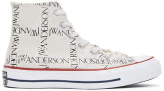 J.W.Anderson White Converse Edition All Over Logo Chuck Taylor All Star 70s Hi Sneakers