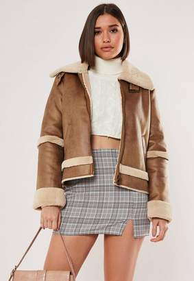 Missguided Brown Crop Zip Aviator Jacket