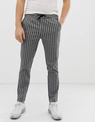Asos Design DESIGN slim pants in gray stripe