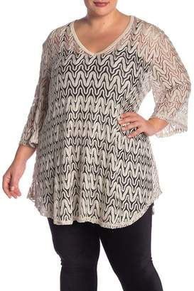 Jordan Taylor Crochet V-Neck Tunic Top (Plus Size)