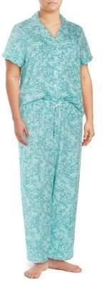 Karen Neuburger Plus Two-Piece Piped Floral Pajama Set