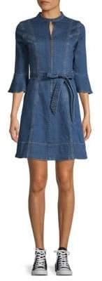 Moon River Bell-Sleeve A-Line Denim Dress