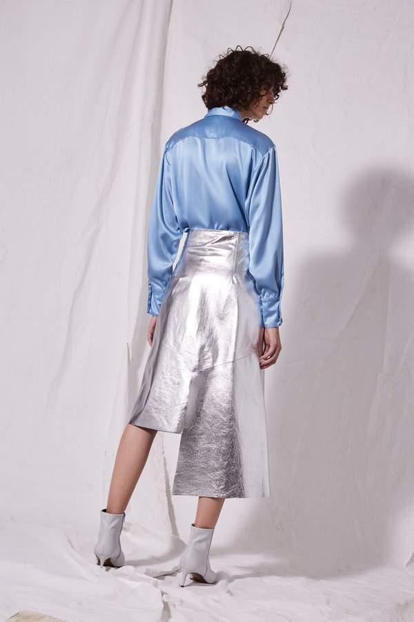 Boutique Step hem leather skirt