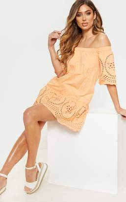 PrettyLittleThing Peach Broiderie Anglaise Bardot Shift Dress