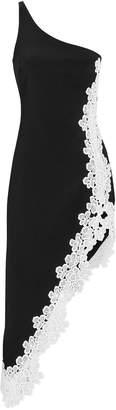 David Koma One Shoulder Floral Lace Trim Dress
