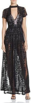 Olivaceous Sheer Lace Maxi Dress $128 thestylecure.com