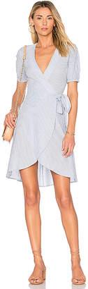L'Academie x REVOLVE The Hi-Low Wrap Dress in Blue $188 thestylecure.com