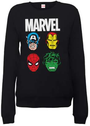 Marvel Comics Main Character Faces Women's Black Sweatshirt