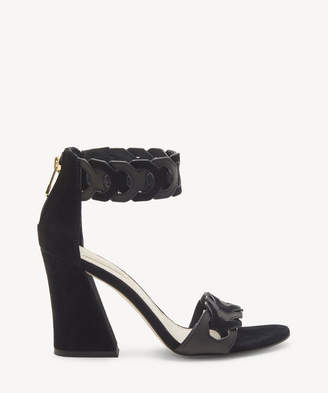 Louise et Cie Women's Kaitlee Flare Heels Sandals Black Size 5 Leather From Sole Society