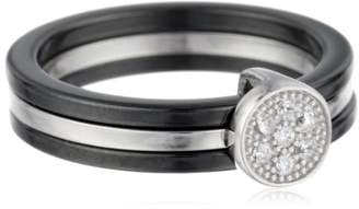 Women's Sterling Silver and Ceramic Ring with Cubic Zirconia
