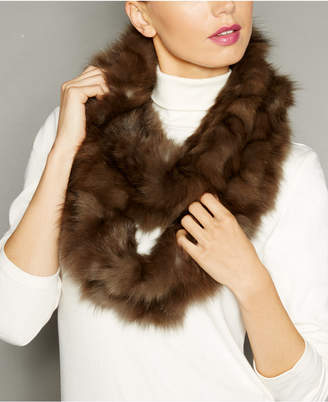 The Fur Vault Knitted Sable Fur Infinity Scarf