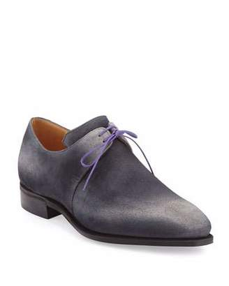 Arca Corthay Suede Derby Shoe with Flint Patina & Purple Piping, Grey