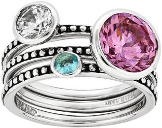 Sterling Silver Crystal Three-Ring Set b y Silver Style