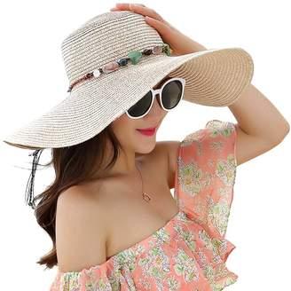 Whitlocks Women Floppy Hat Weaving Big Eaves Straw Hat Wide Brim Beach Hat  Sun Cap 172e45be9b71