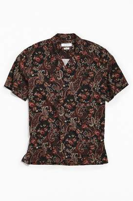 Urban Outfitters Ornate Paisley Rayon Short Sleeve Button-Down Shirt
