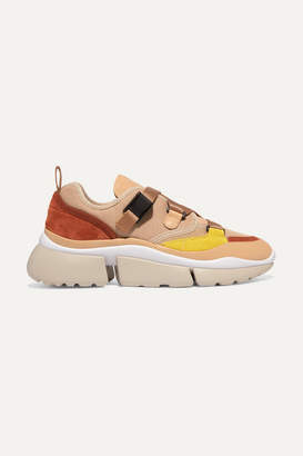 Chloé Sonnie Canvas, Mesh, Suede And Leather Sneakers - Beige