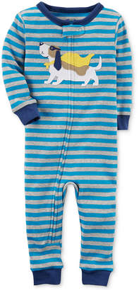 Carter's Blue Stripe Super Dog Cotton Pajamas, Baby Boys