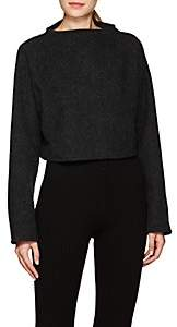 Live the PROCESS Women's Felted Cotton-Cashmere Mock-Turtleneck Crop Sweater - Charcoal