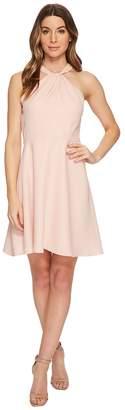 CeCe Gigi- Twist Neck Lace Combo Fit Flare Women's Dress