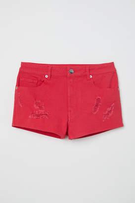 H&M Twill Shorts High Waist - Red