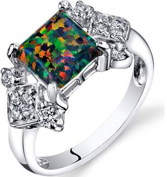 Black Opal Oravo 1.00 Carat T.G.W. Created Engagement Ring in Rhodium-Plated Sterling Silver