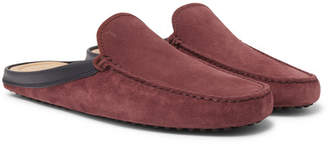 Tod's Leather-Trimmed Suede Backless Driving Shoes