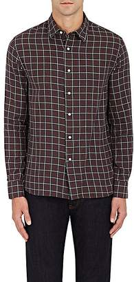 Barneys New York MEN'S PLAID WOVEN COTTON SHIRT - CHARCOAL SIZE S