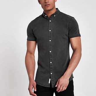 River Island Mens Black wash short sleeve denim shirt