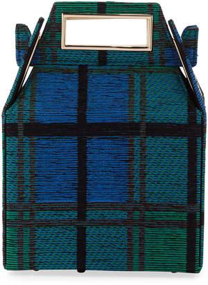 Pop & Suki Jacquard Takeout Top Handle Bag Blue Pattern
