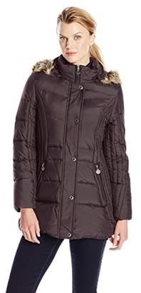 Anne Klein Women's Down Coat with Faux Fur-Trimmed Hood