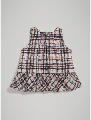 Burberry Childrens Scribble Check Print Silk Top