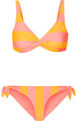 Solid and Striped - The Jane Striped Triangle Bikini - Yellow $176 thestylecure.com