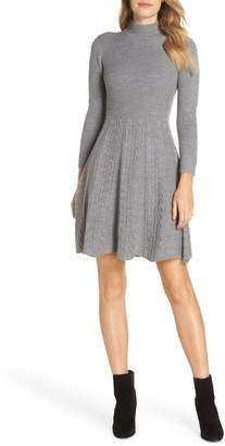 Eliza J Mock Neck Fit & Flare Sweater Dress