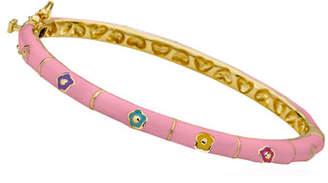 LMTS Girls' Flower Enamel Hinged Bangle, Pink