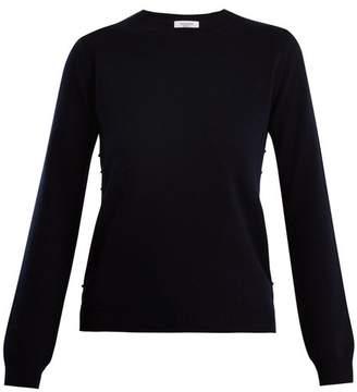 Valentino Rockstud Crew Neck Cashmere Sweater - Womens - Navy