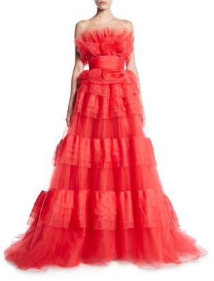 Monique Lhuillier Strapless Tiered Organza Ball Gown