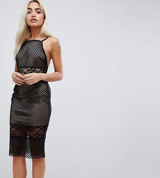 Asos Lace & Mesh Mix Midi Pencil Dress