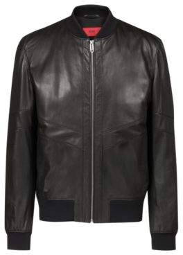 HUGO Boss Regular-fit leather bomber jacket in nappa leather S Black