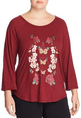 Lucky Brand Plus Butterfly Floral Graphic Tee