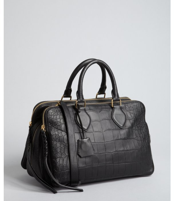 Celine black croc embossed leather triple compartment convertible bag