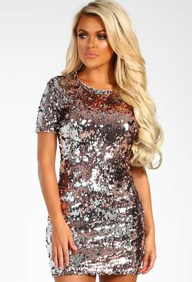 Pink Boutique Million Dollar Babe Rose Gold Sequin Shift Dress 78b1827da