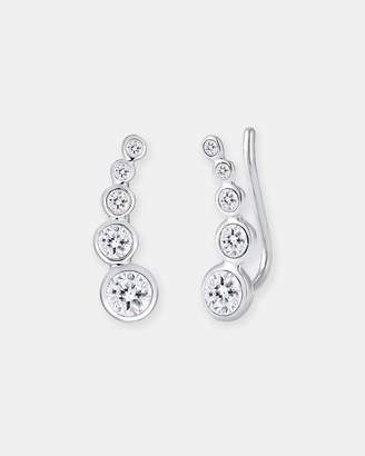 Swarovski Earring Ear Cuff Circle Crystals 925 Silver