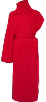 Rosetta Getty One-sleeve Ribbed Cashmere Turtleneck Tunic - Red