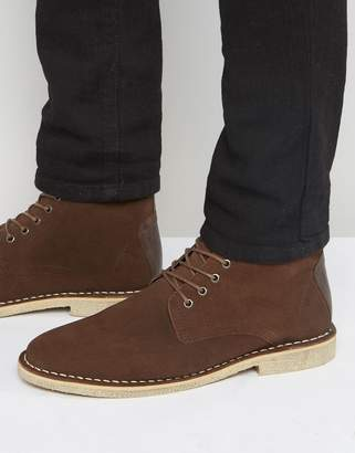 Asos Design DESIGN desert boots in brown suede with leather detail