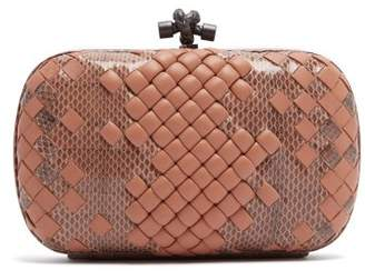 Bottega Veneta Knot Satin And Watersnake Clutch - Womens - Nude