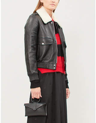 Claudie Pierlot Captain leather and shearling jacket